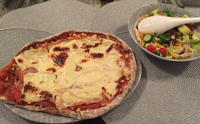 pizza and salad homemade