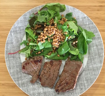 whole wheat grains and organic steak