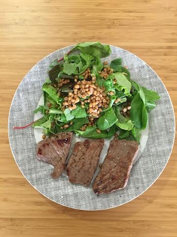 whole wheat grains and organic steak