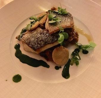 grilled sea bass at Pavillion Ledoyen