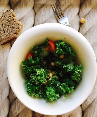 vegan organic chickpea and kale salad